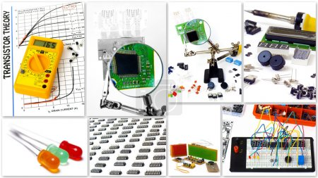 Photo for A collection of photos for DIY electronics. Isolated on white background - Royalty Free Image