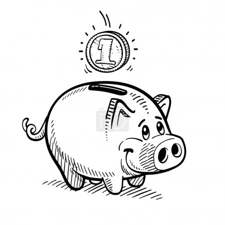 Illustration for Piggy bank drawing. - Royalty Free Image