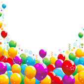 Colorful party balloons with falling streamers and confetti