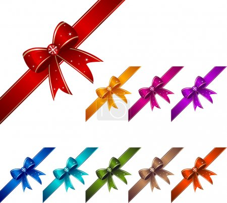 Illustration for Set of colorful ribbons with knots. - Royalty Free Image