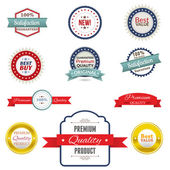 A set of banners badges and ribbons on a textured background EPS 10 file contains transparency effects