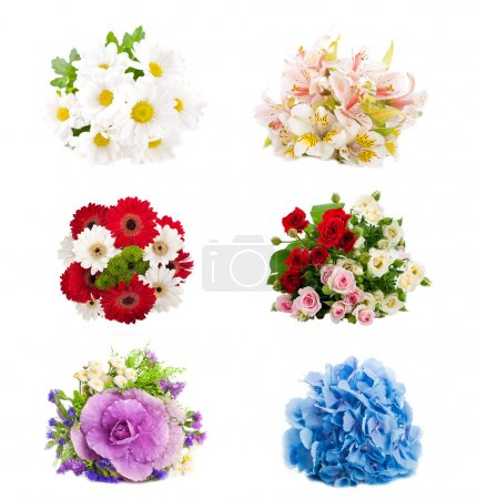 Set of flowers are in a bouquet, floral background
