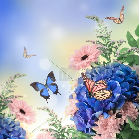 Bouquet from blue hydrangeas and butterfly