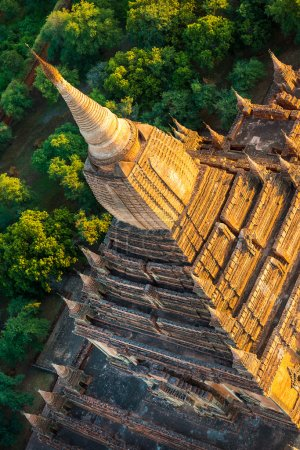 Photo for Ancient pagodas in Bagan with altitude balloon Myanmar - Royalty Free Image