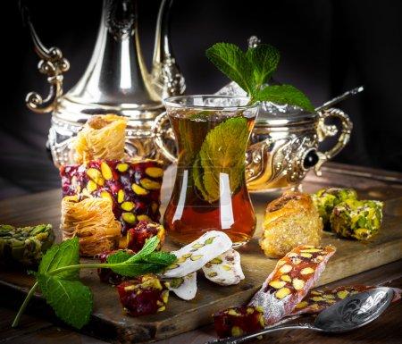Tea with Turkish sweets