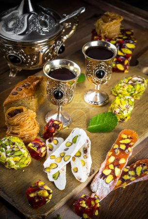 Tea with Turkish sweets