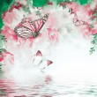 Floral background of pink carnations and butterfli...