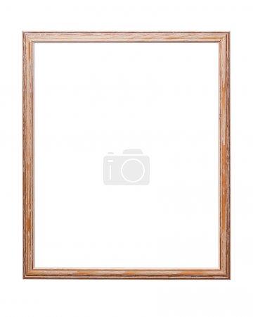 Photo pour Cadre en bois sur fond blanc avec chemin de coupe - image libre de droit