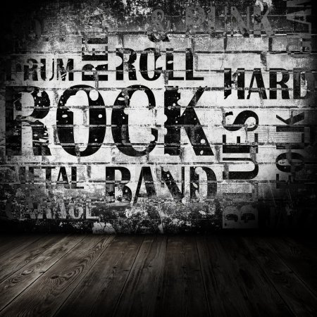 Photo for Grunge room with rock style text - Royalty Free Image