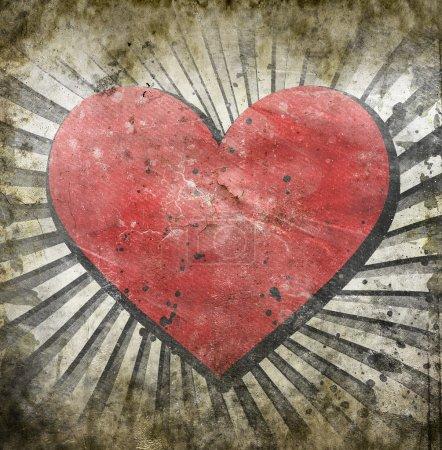 Photo pour Coeur grunge avec des taches abstraites - image libre de droit