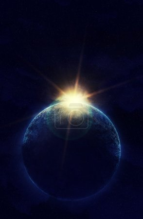Planet with sunlight