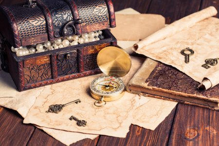 Treasure chest, compass and old map