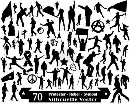 70 Protester Rebel Symbol and Silhouette Vector Design