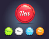 Vector Glossy Round New Icon Button and multicolored