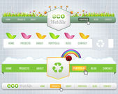 Web Elements Vector Header & Navigation Templates Set Eco Theme