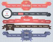Web Elements Vector Header  Navigation Templates Set