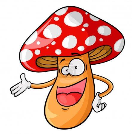 Illustration for Happy cartoon mushroom isolated on white - Royalty Free Image
