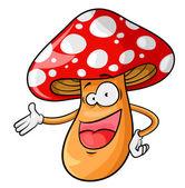 Happy cartoon mushroom isolated on white