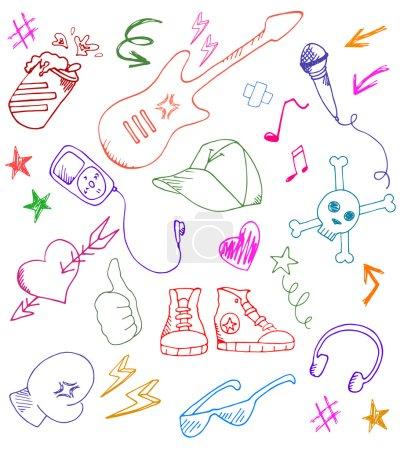 Photo pour Collection de gribouillis rock et musique - image libre de droit