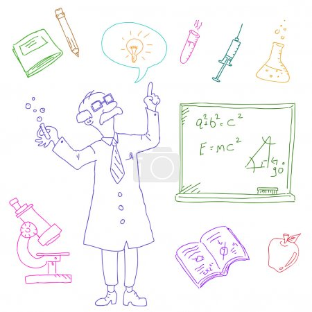 Illustration for Les of science and laboratory doodles - Royalty Free Image