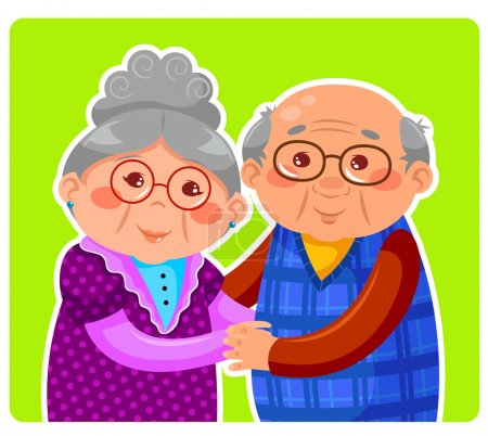 Illustration for Senior couple hugging and smiling - Royalty Free Image