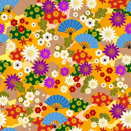 Illustration for Seamless pattern of traditional japanese kimono - Royalty Free Image