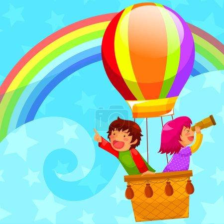 Illustration pour Enfants voler dans un ballon à air chaud - image libre de droit