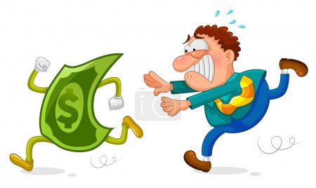 Illustration for Worker chasing a sneaky dollar - Royalty Free Image