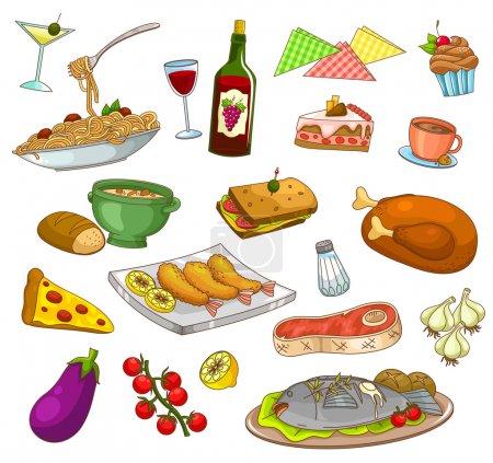 Illustration pour Collection de nourriture et de plats de restaurant - image libre de droit