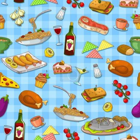 Illustration pour Motif sans couture avec de délicieux aliments - image libre de droit
