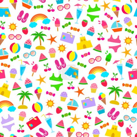 Illustration for Seamless pattern with summer icons - Royalty Free Image