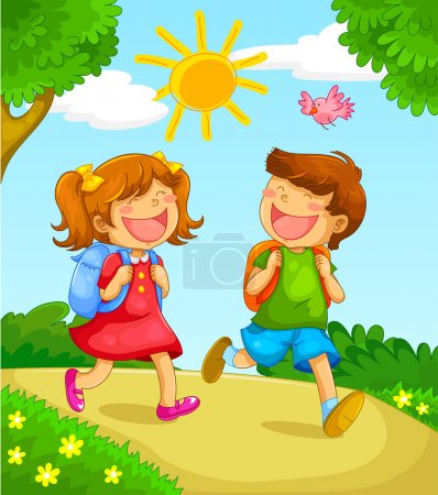Illustration for Two children going to school - Royalty Free Image