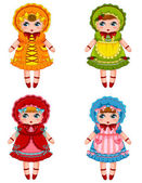 Collection of cute dolls in vintage dresses and bonnets