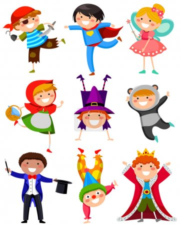 Illustration for Set of kids wearing different costumes - Royalty Free Image