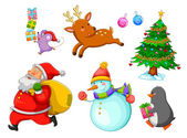 Set of cartoons related to Christmas
