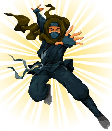 Illustration for Cartoon ninja in action - Royalty Free Image
