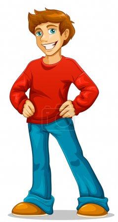 Illustration pour Dessin animé jeune homme heureux debout avec sa main sur ses hanches - image libre de droit