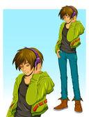 Teenage boy listening to music in his headphones