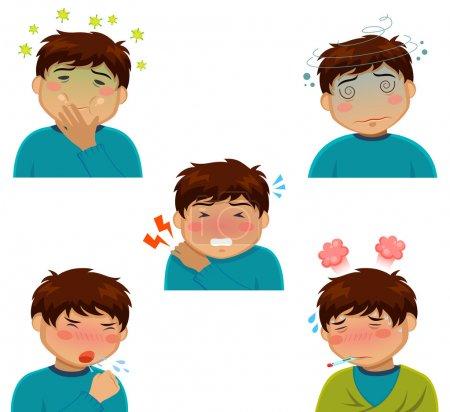 Illustration for Cartoon person having various sickness symptoms - Royalty Free Image