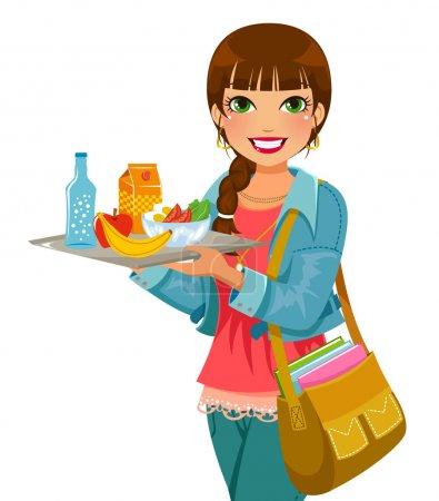 Illustration pour Fille tenant un plateau avec déjeuner - image libre de droit