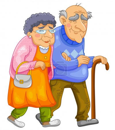 Illustration for Old couple walking together - Royalty Free Image