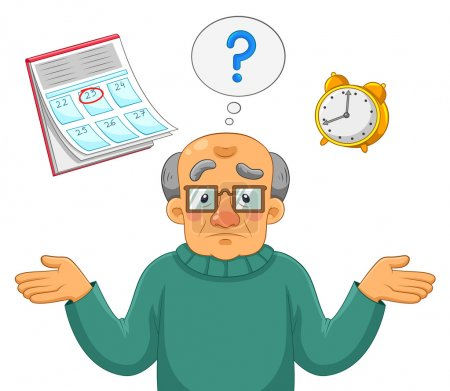 Illustration for Old man feeling confused and forgetful - Royalty Free Image