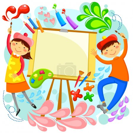 Illustration for Children painting around a blank canvas with space for text - Royalty Free Image