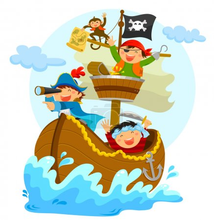 Happy pirates sailing in their pirate ship...