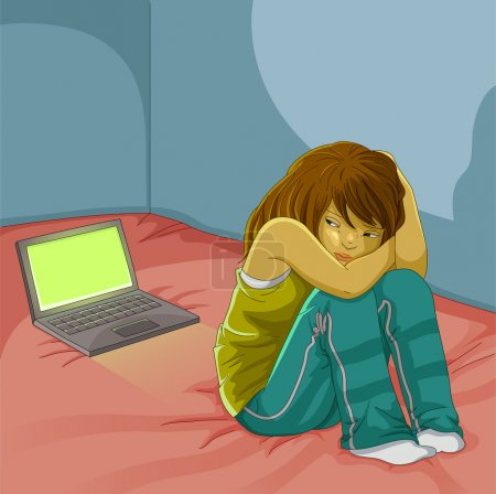 Illustration for Sad girl sitting alone next to her open laptop - Royalty Free Image