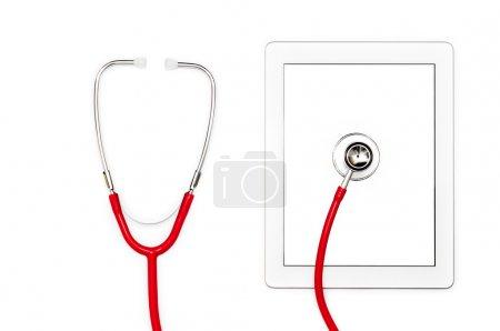 Tablet computer diagnostic and repair concept.