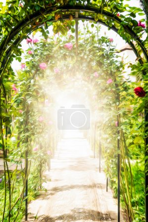 Flower garden with arches decorated with roses.