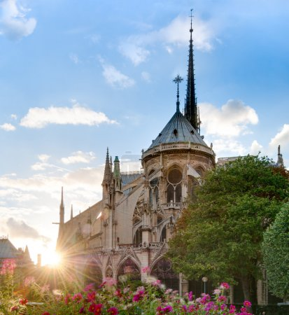 Sunset view of Notre Dame De Paris cathedral.