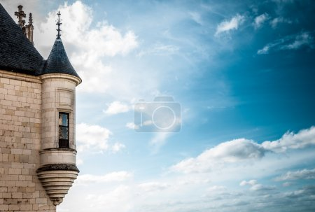 Castle tower with window against dark blue sky.