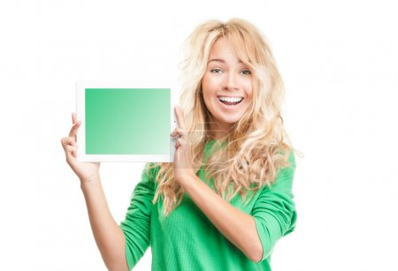 Beautiful and happy young woman with tablet computer.